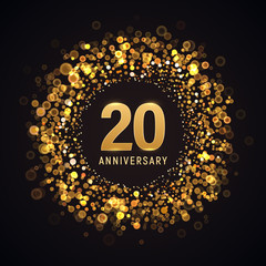 20 years anniversary isolated vector design element. Twenty birthday logo with blurred light effect on dark background