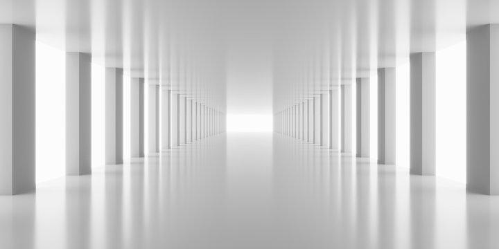 3d rendering white corridor pillars background render