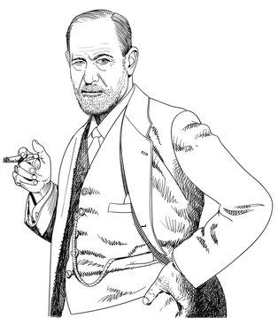 Sigmund Freud portrait in line art illustration