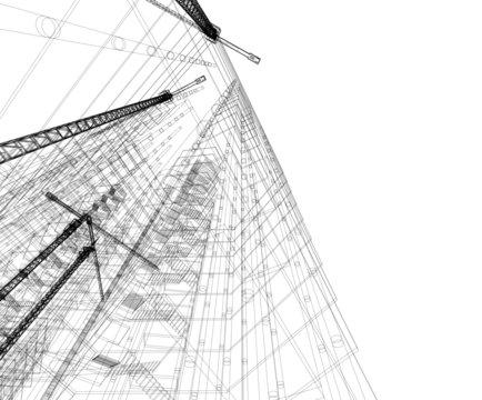 building construction site, vector illustration