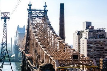 New York, USA - August 15, 2008: Queensboro Bridge seen one morning from the cabin of the Roosevelt Island Tramway.