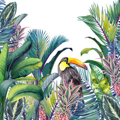 Tropical card with Toucan, palm trees, pineapples, banana and calathea leaves. Watercolor illustration on white background.