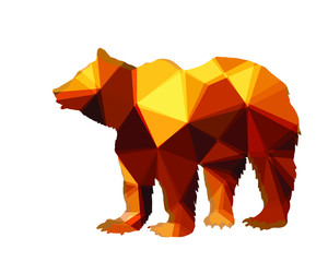 vector-isolated image of a bear on white background in low poly style