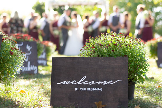 Rustic Wooden Sign Welcome to our Beginning Wedding Briday Party Outdoors
