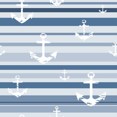 Seamless pattern with blue stripes and white anchors. Vector.