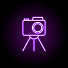 camera stand neon icon. Elements of photography set. Simple icon for websites, web design, mobile app, info graphics