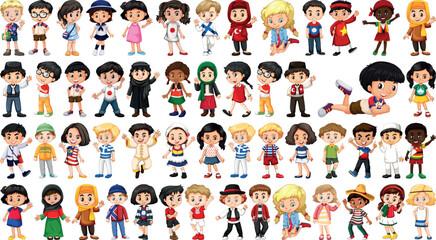Set of multicultural children
