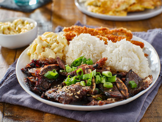 hawaiian bbq plate with mix of chicken katsu, korean kalbi beef short ribs, rice, and macaroni salad Wall mural