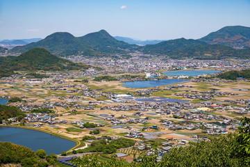 Landscape of countryside and farm reservoirs ,Shikoku,Japan
