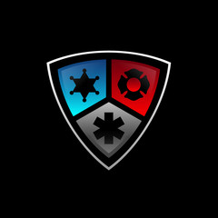 3D Public secure badge emblem logo design with police, medical and firearms icon