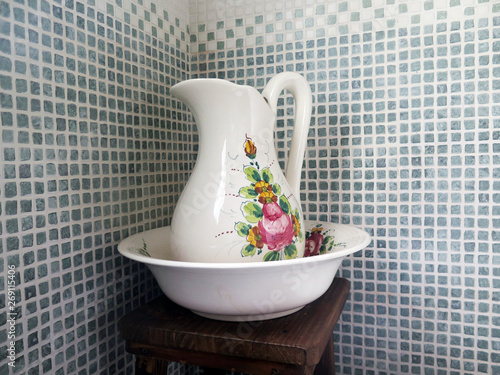 Wash bowl and pitcher in a modern bathroom