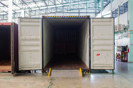 The container inside warehouse on shipment area.