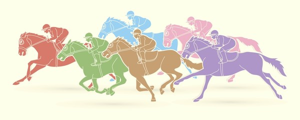 Printed kitchen splashbacks Indians Group of Jockeys riding horse, sport competition cartoon sport graphic vector