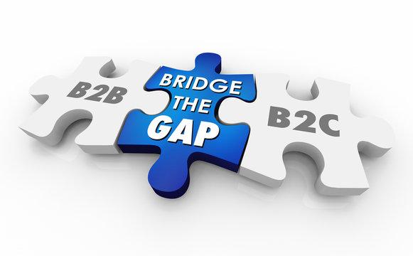 B2B B2C Bridge the Gap Puzzle Pieces Words 3d Illustration