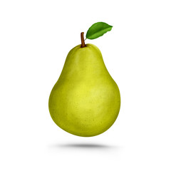 Fresh pear with leaf realistic Illustration isolated on white background.