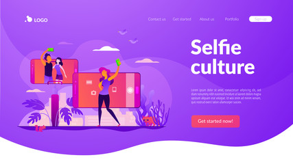 Concept of selfie culture, social network, blog, vlog, self-portrait, popularity. Website interface UI template. Landing web page with infographic concept creative hero header image.