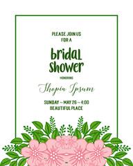 Wall Murals Retro sign Vector illustration design artwork pink flower frame for letter bridal shower