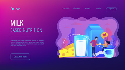 Dairy products, cheese, yoghurt and kid likes drinking milk, tiny people. Dairy products, milk based nutrition, dairy products production concept. Website homepage landing web page template.