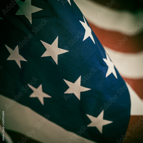 America flag waving with the wind for memorial day.