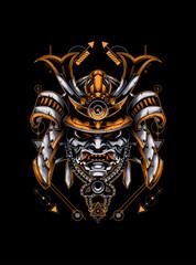 samurai head with sacred geometry pattern