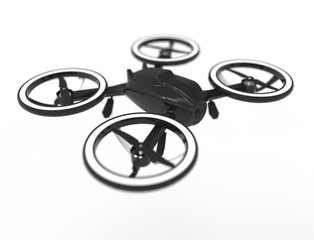 3D illustration of a black drone isolated in white background