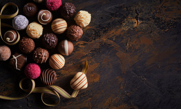 Rustic banner with luxury handmade chocolates