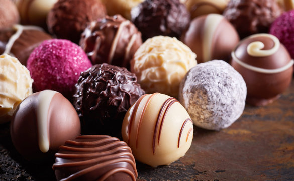 Close up detail of a luxury handmade chocolate
