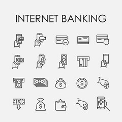 Simple collection of internet banking related line icons.