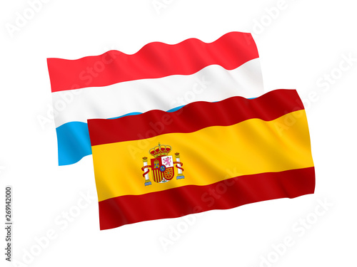 National fabric flags of Luxembourg and Spain isolated on white