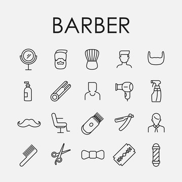 Barber related vector icon set.