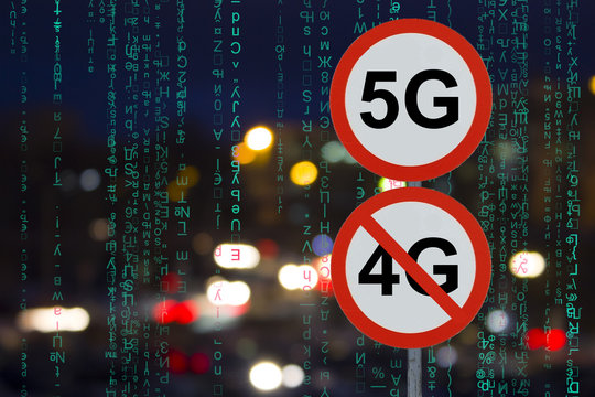 the Sign 5G no 4G and the night road with cars and data matrix