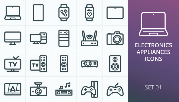 Electronics and appliances icons set. Set of laptop, smart watch, fitness bracelet, smartphone, tablet, monitor, tv box, camera, dvr, game console, gps navigator, video projector, adsl modem icons