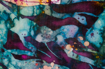 Colorful abstraction, fragment, hot batik, handmade abstract surrealism art on silk, background texture