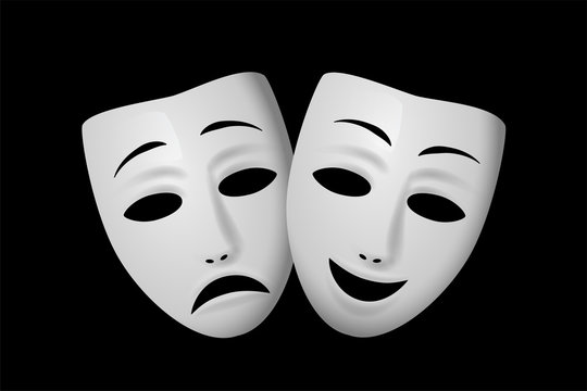 Comedy and Tragedy theatrical mask isolated on black background. Vector illustration.