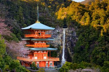 Japanese pagoda and waterfall Wall mural