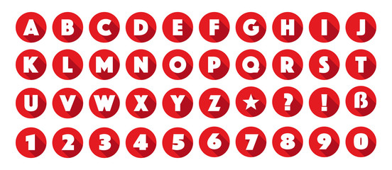 Obraz Lettres et chiffres de l'alphabet dans cercles rouges - fototapety do salonu