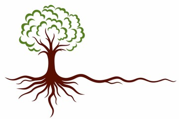 A symbol of the stylized tree with roots.