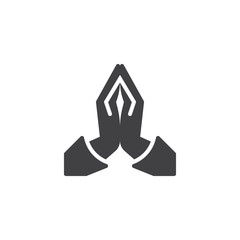 Praying hands vector icon. filled flat sign for mobile concept and web design. Two hands pray glyph icon. Religion symbol, logo illustration. Vector graphics