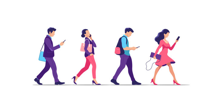 Young people walking. Humans strolling with smartphones, they are using their digital devices. Vector illustration.
