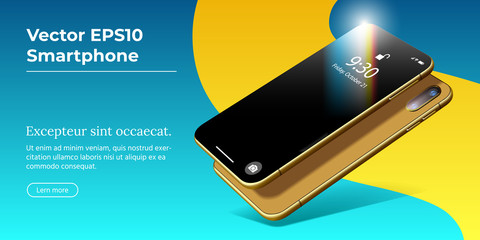 Vector 3D Realistic Cell Phone. Gold Glossy Mockup of Any Smartphone with Shiny Transparent Layer and Blank Display Modern Device. Perspective View Template for Presentations of Mobile Apps.
