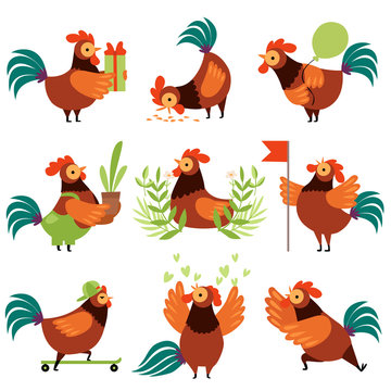 Collection of Colorful Roosters in Different Situations, Farm Cocks Cartoon Characters Vector Illustration