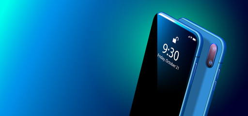 Set Mock-up of Modern Blue Smart Phone on Smooth Dark Blue Back in Perspective View. Realistic Vector Illustration of Smartphone. New Shiny Mobile Cellphone with Reflection on the Screen.