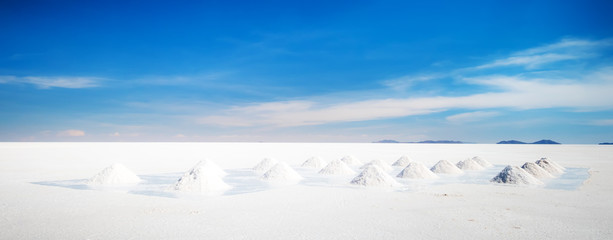 Huge sault banks in spacious sunshine Salar de Uyuni
