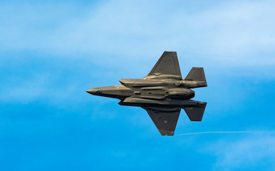 F35 Lightning Demo Team appearance the show aircrafts at Bari (ITALY) Airshow on the feast of St. Nicholas May 8, 2019