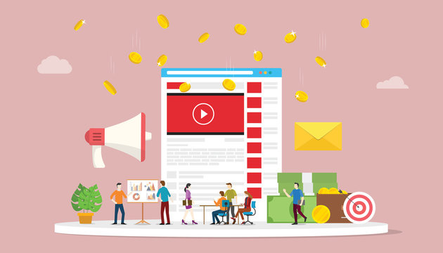 video marketing campaign concept with social media team business marketing with modern style - vector