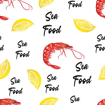 pattern with ocean food. Watercolor shrimps and lemon