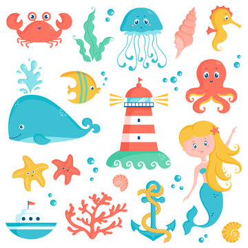 Sea and nautical illustration set. Cute vector collection.
