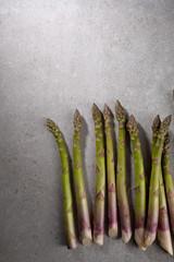 Organic green asparagus above