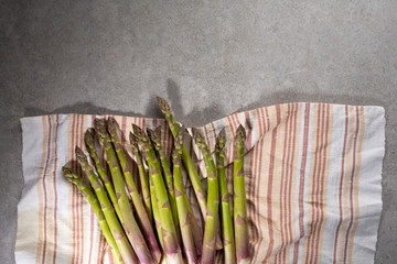 Organic green asparagus from above