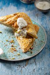 Rhubarb pie on plate close-up